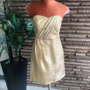 Kimchi Blue Gold Pleated Front Strapless Dress